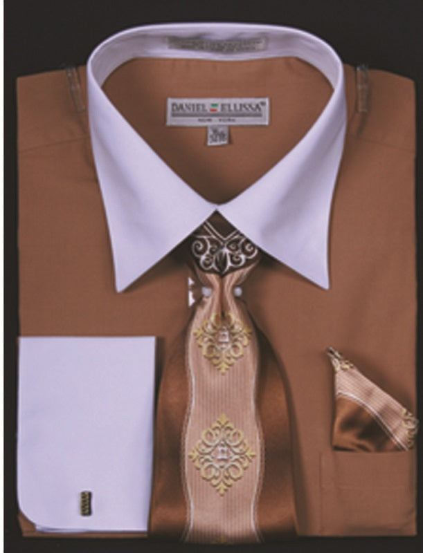 Men's Tan Two Tone French Cuff Dress Shirt Tie Set DE DS3006WTPRT