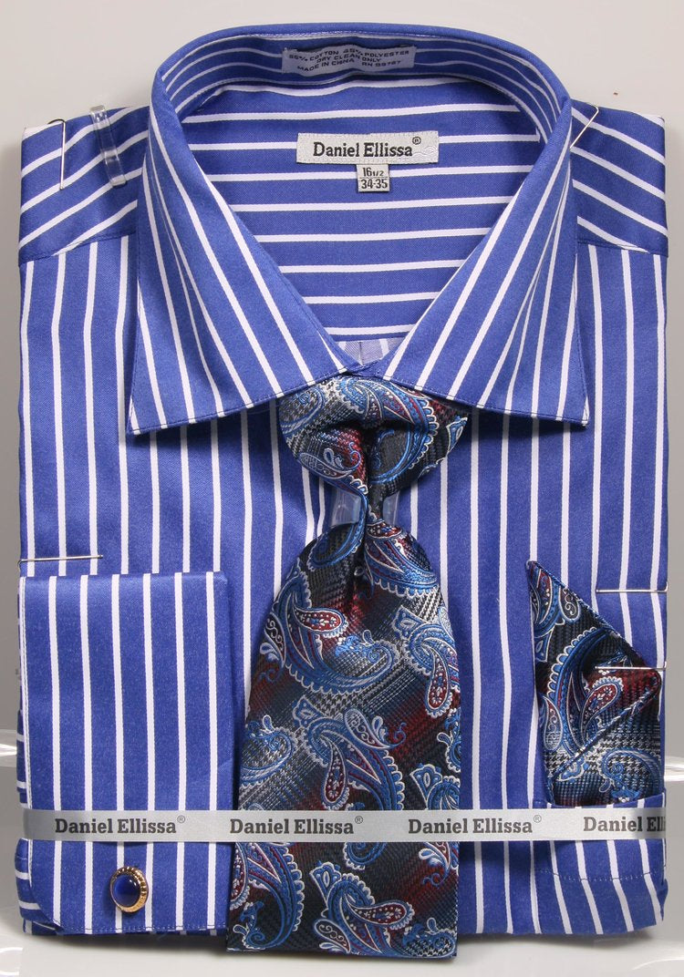 Men's Royal White Stripe French Cuff Dress Shirt Tie Set Daniel Ellissa DS3793P2