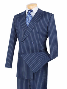Men's Blue Stripe Double Breasted Suit Vinci DSS-4