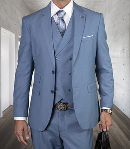 Statement Tailored Fit Wool Suit Men Steel Blue 3 Piece Lazio