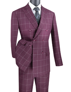 Men's Modern Fit Wine Double Breasted Suit Windowpane Tailored MDW-1