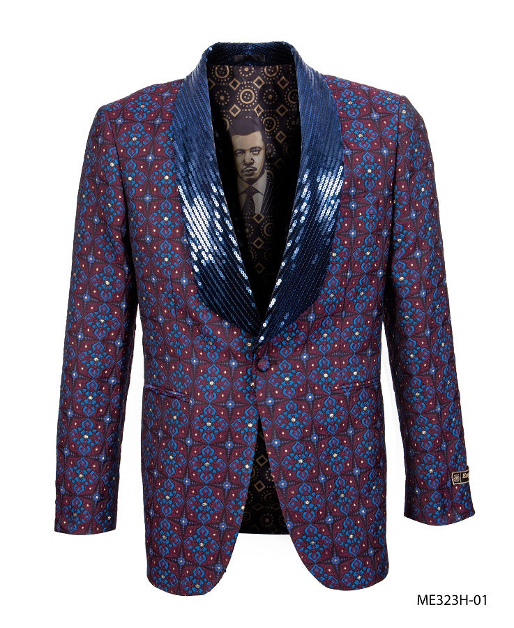 Empire Men's Burgundy Sequin Tuxedo Jacket Fashion Blazer ME323H-01