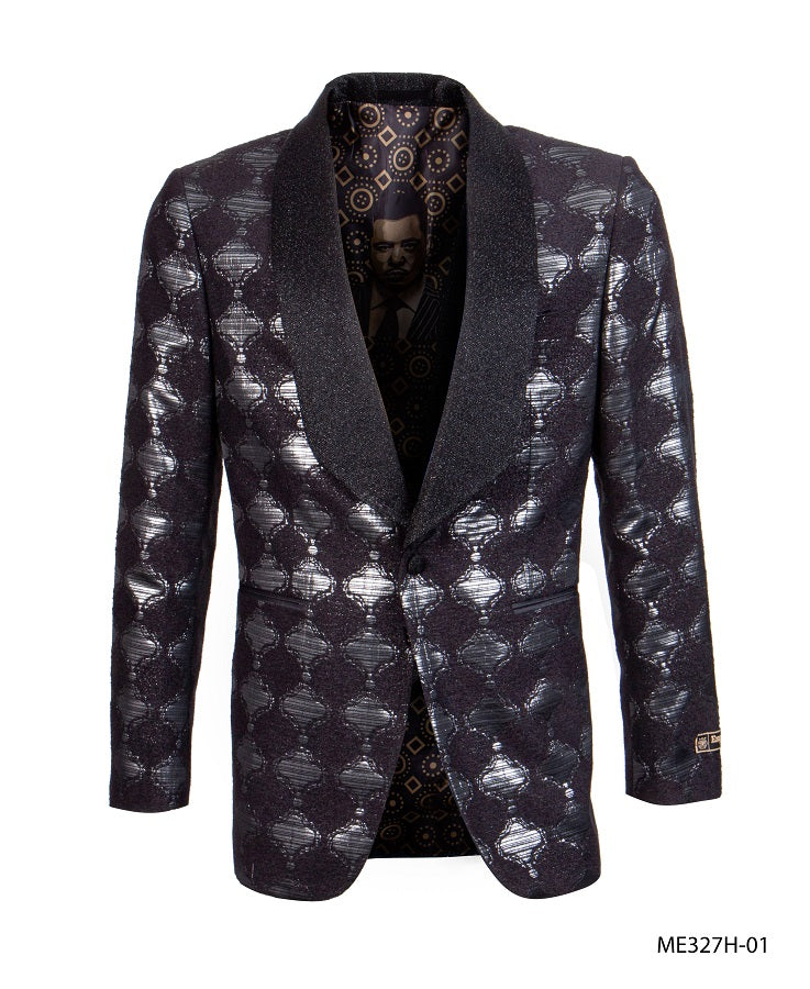 Empire Men's Black Silver Tuxedo Jacket Fashion Blazer ME327H-01