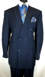 Men's Navy Blue Striped Double Breasted Suit Fortini 5911