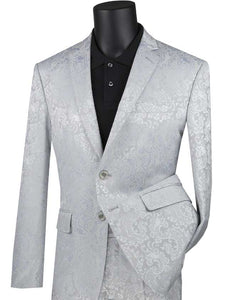 Men's Slim Fit Silver Paisley Fashion Prom Suit S2F-1