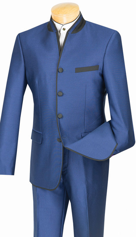 Slim Fit Suit Blue Chinese Mandarin Collar S4HT-1