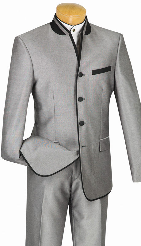 Slim Fit Suit Gray Chinese Mandarin Collar S4HT-1
