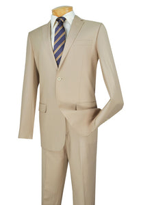 Slim Fit Suit Men's Beige Solid Color SC900-12