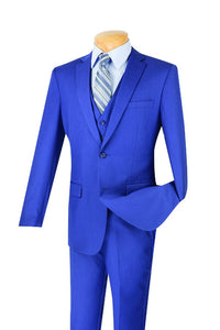 Slim Fit Suit with Vest Men's Blue SV2900
