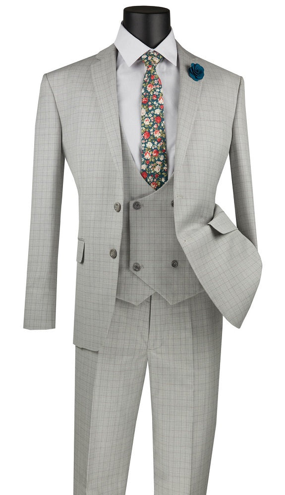Men's Ice Gray Plaid Slim Fit Suit Low Cut Vest SV2W-5