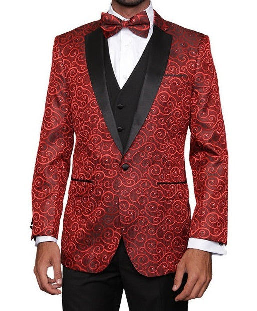 Statement Red Fashion Tuxedo for Men Swirl Pattern Bellagio