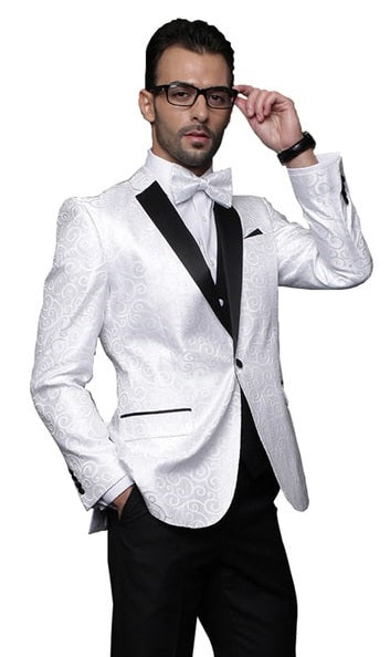 Statement White Fashion Tuxedo for Men Swirl Pattern Bellagio