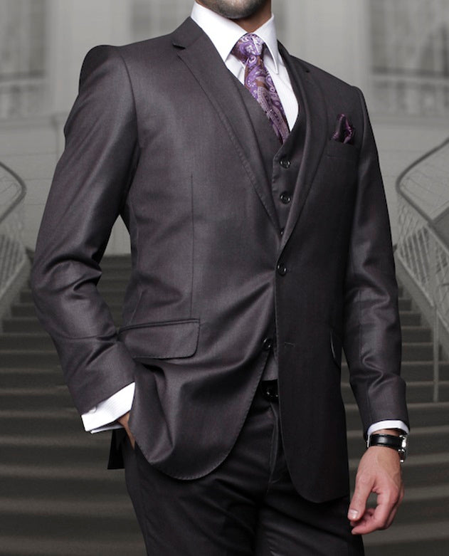 Statement Wool Suit Mens Heather Charcoal 3 Piece TZ-100