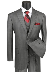 Men's Gray Pinstripe 3 Piece Suit Pleated Pants V2RS-7