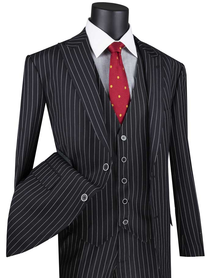 Men's Black 1920s Stripe 3 Piece Suit with Vest V2RS-9