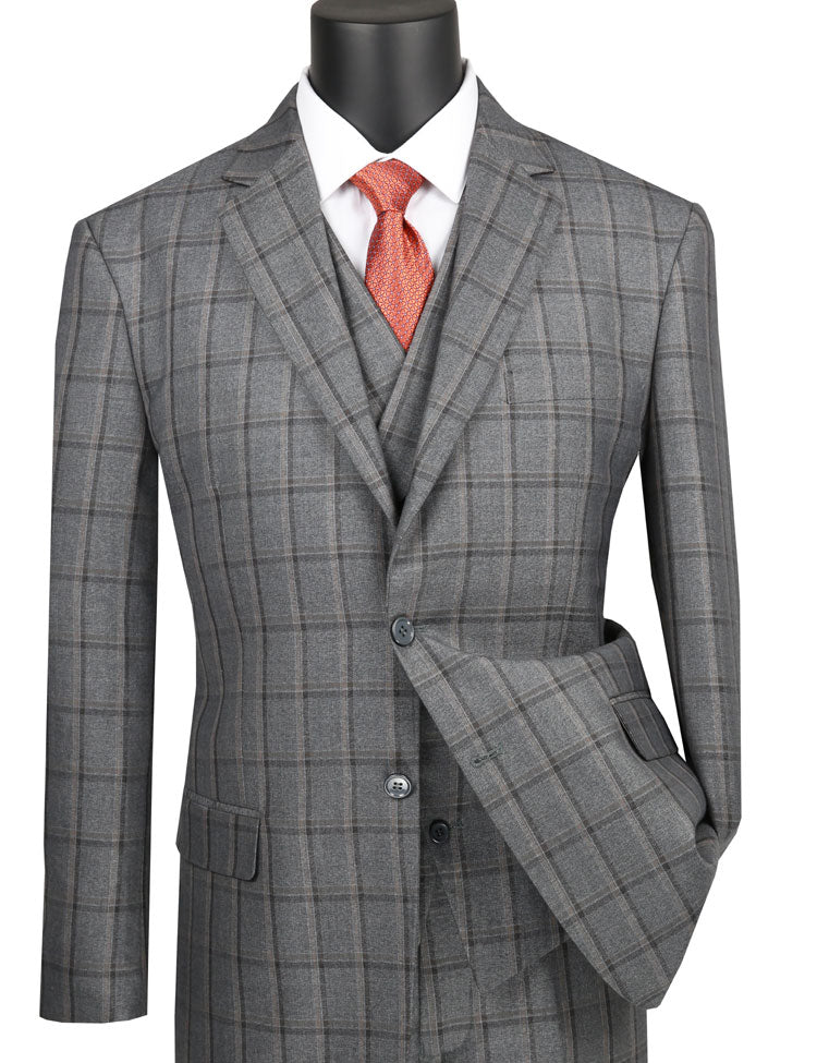 Men's Gray 1920s Plaid 3 Piece Suit with Vest V2RW-12