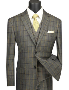 Men's Olive 1920s Plaid 3 Piece Suit with Vest V2RW-12