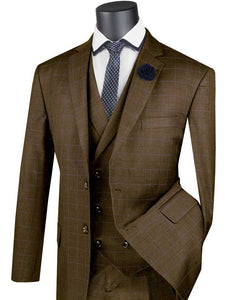 Men's Dark Taupe Plaid 3 Piece Suit Double Breasted Vest V2RW-13
