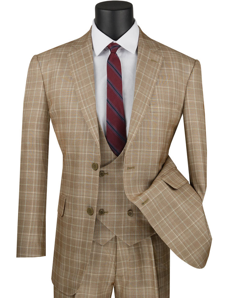 Men's Camel Tan Plaid 3 Piece Suit Low Cut Vest V2RW-7