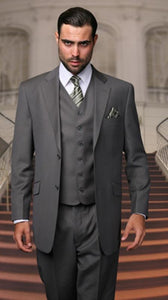 Wedding Suit with Vest Men's Charcoal Gray Flat Front Pants V2TR