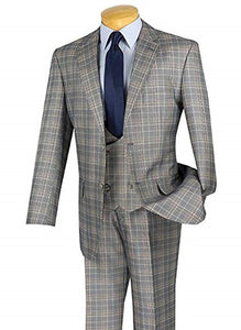 Men's Gray Plaid 3 Piece Suit Scoop Vest V2RW-7