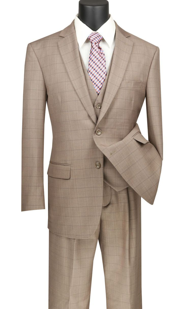 Men's Tan Windowpane Plaid Suit with Vest V2RW-15