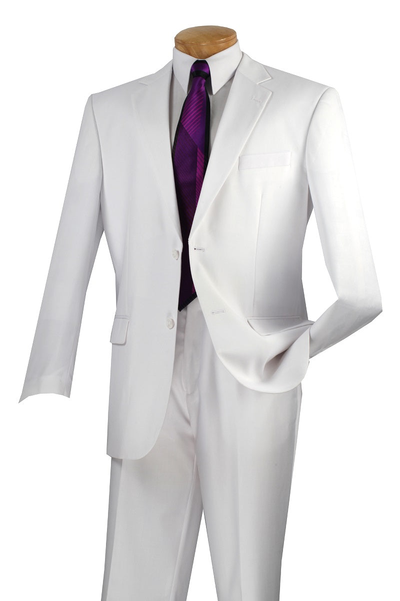 Men's White Wedding Suit with Flat Front Pants Vinci 2C900-2