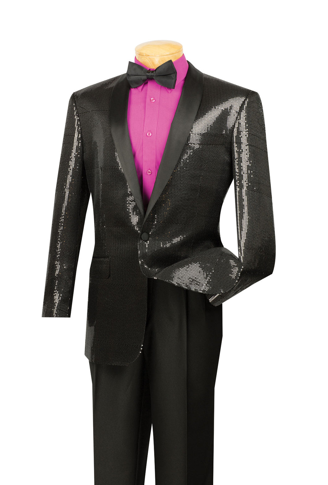 Men's Black Sequin Tuxedo Jacket Blazer BSQ-1