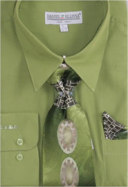 Shirt and Tie Set Men Lime Green Daniel Ellissa D1P2