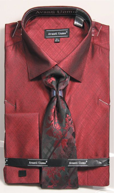 Men's Burgundy Sharkskin French Cuff Dress Shirt Tie Set Avanti DN82
