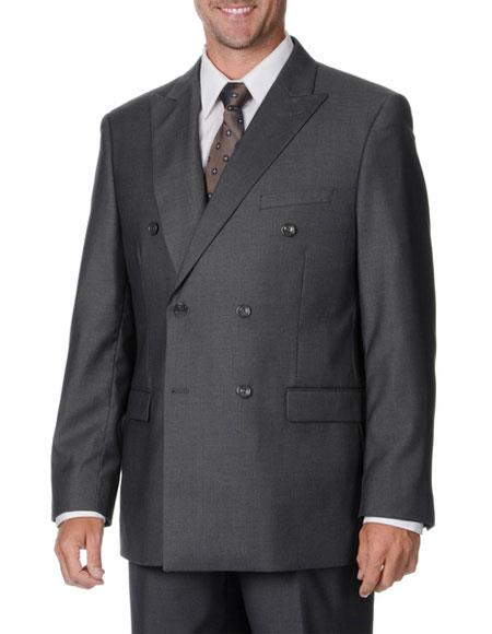 Double Breasted Suit Men's Heather Gray Vinci DC900-1