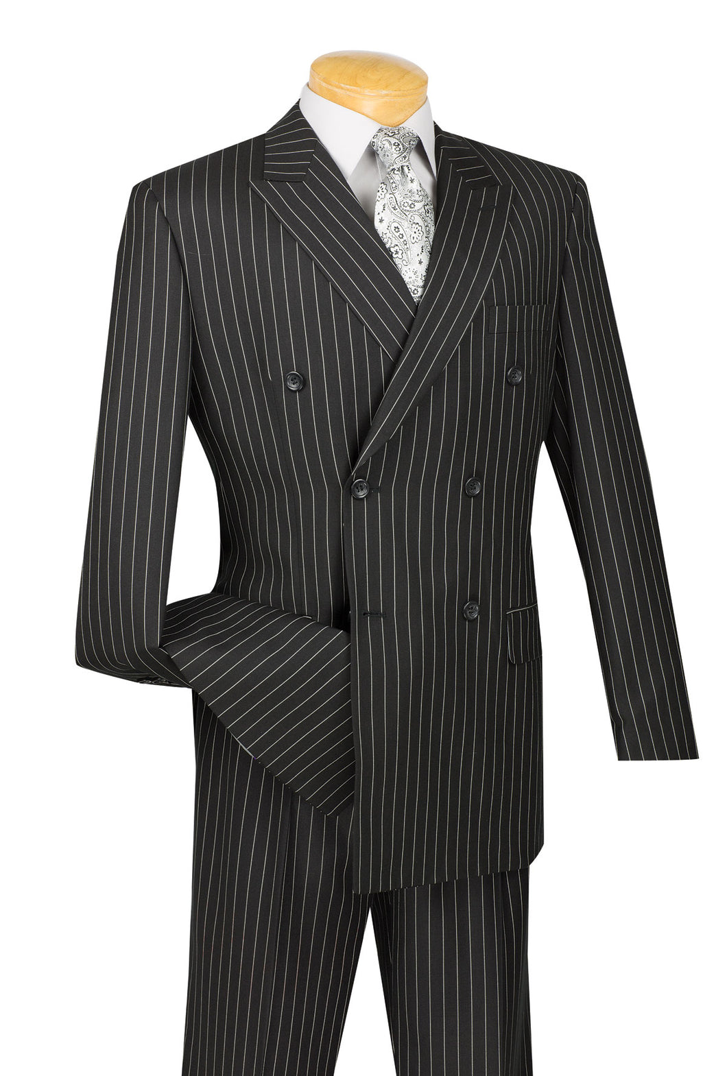Men's Double Breasted Suit Black Stripe 1940s DSS-4