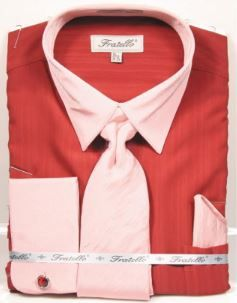 Men's Brick Red French Cuff Dress Shirt Tie Combo Fratello FRV4149P2