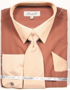 Men's Brown French Cuff Dress Shirt Tie Combo Fratello FRV4149P2