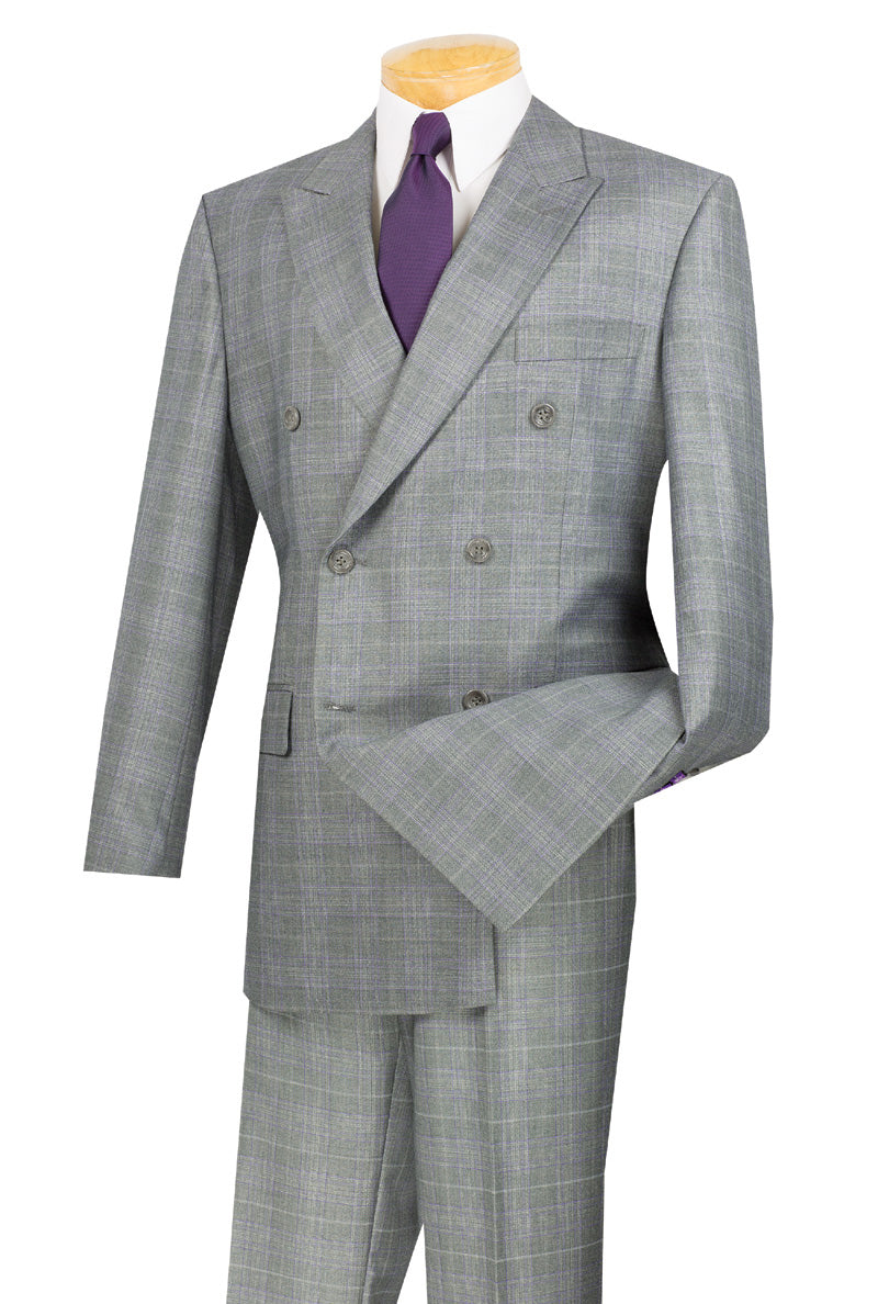 Men's Gray Plaid Double Breasted Suit Vinci DRW-1