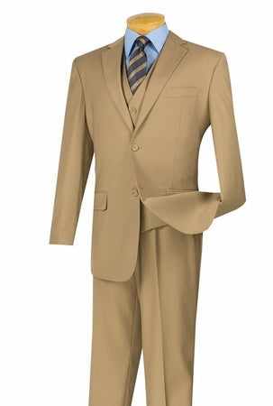 Khaki Suit for Men with Pleated Pants 2 Piece 2TR