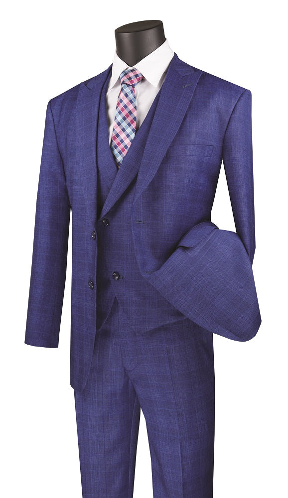 Men's Modern Fit Blue Plaid 3 Piece Suit with Vest MV2W-1