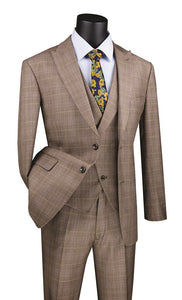 Men's Modern Fit Tan Plaid 3 Piece Suit with Vest MV2W-1