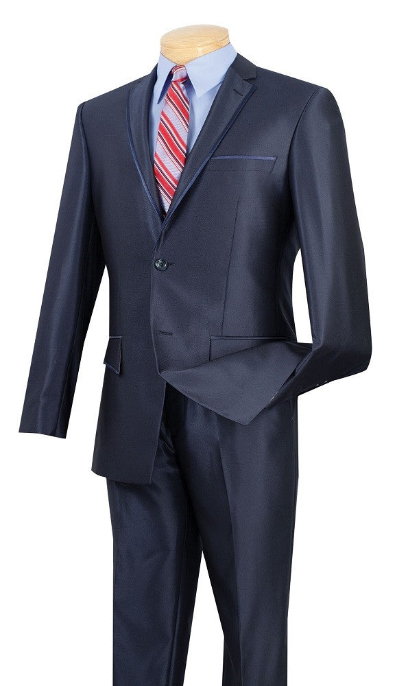 Men's Shiny Blue Slim Fit Suit S2RR-4