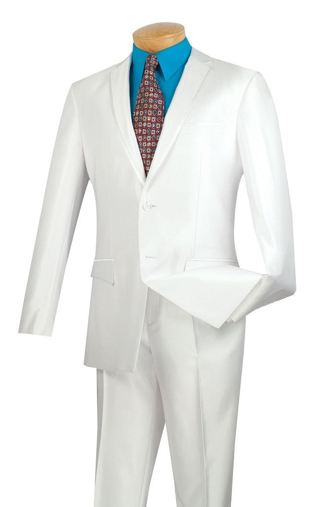 Men's Shiny White Slim Fit Suit S2RR-4