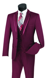 Men's Burgundy Slim Fit Party Wedding Suit Vest Trimmed Lapel SV2T-8