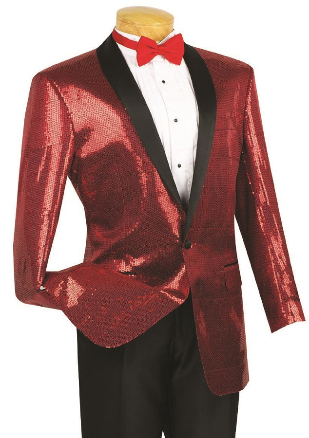 Men's Red Sequin Tuxedo Jacket Blazer BSQ-1