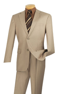 Men's Beige Executive Suit Flat Front Pants Texture Fabric 2LK-1