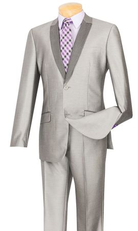 Men's Shiny Gray Silver Slim Fit Prom Party Suit S2PS-1