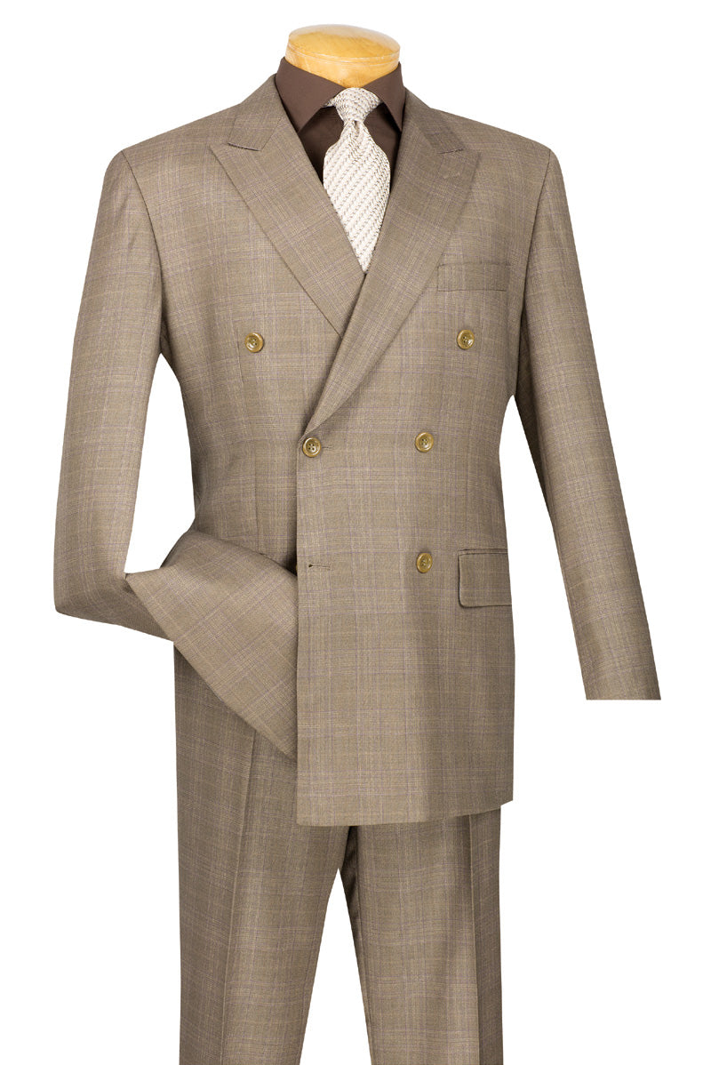 Men's Tan Plaid Double Breasted Suit Vinci DRW-1