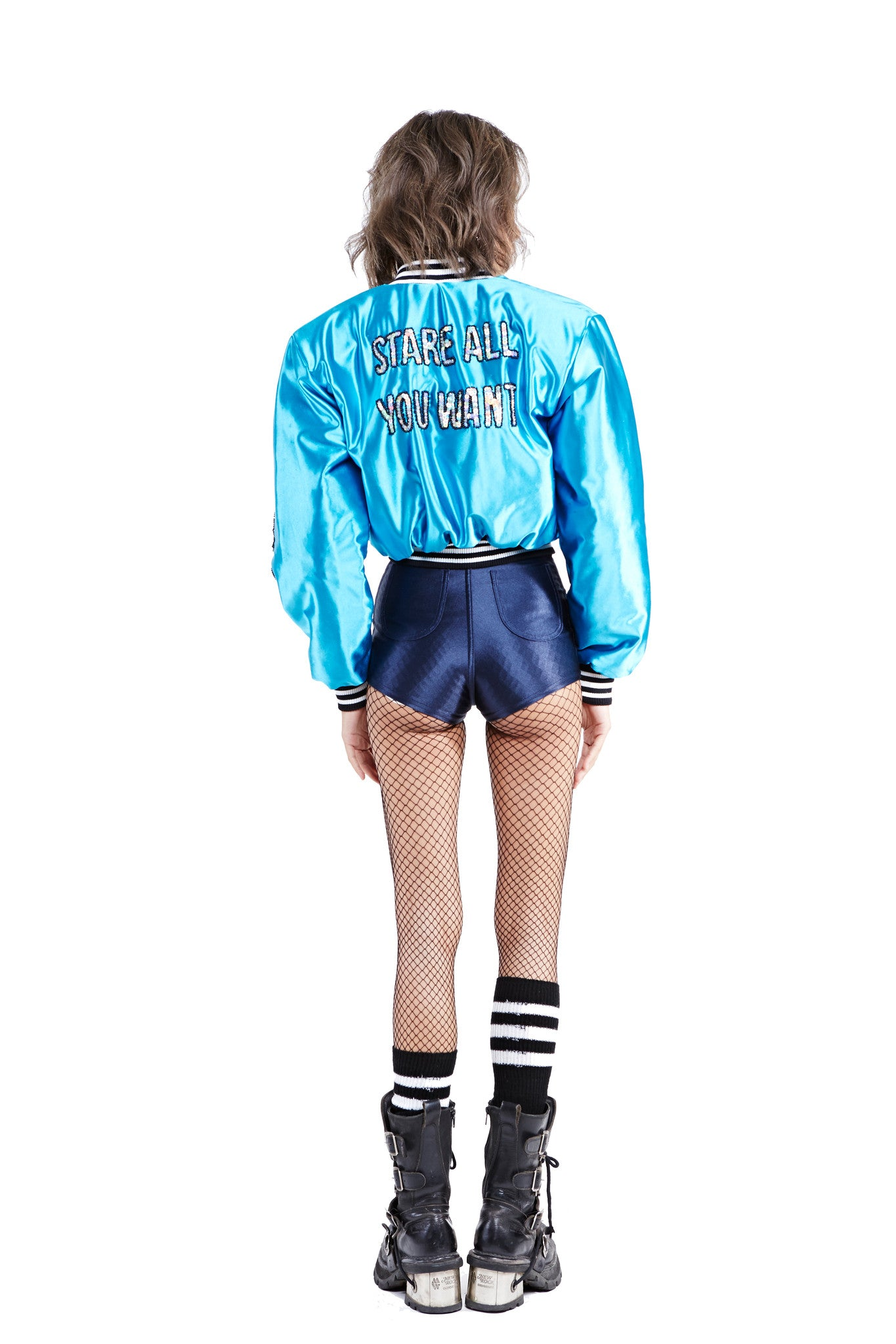 DON'T CARE Bomber Jacket - Electric Blue - I LOVE DIY by Panida