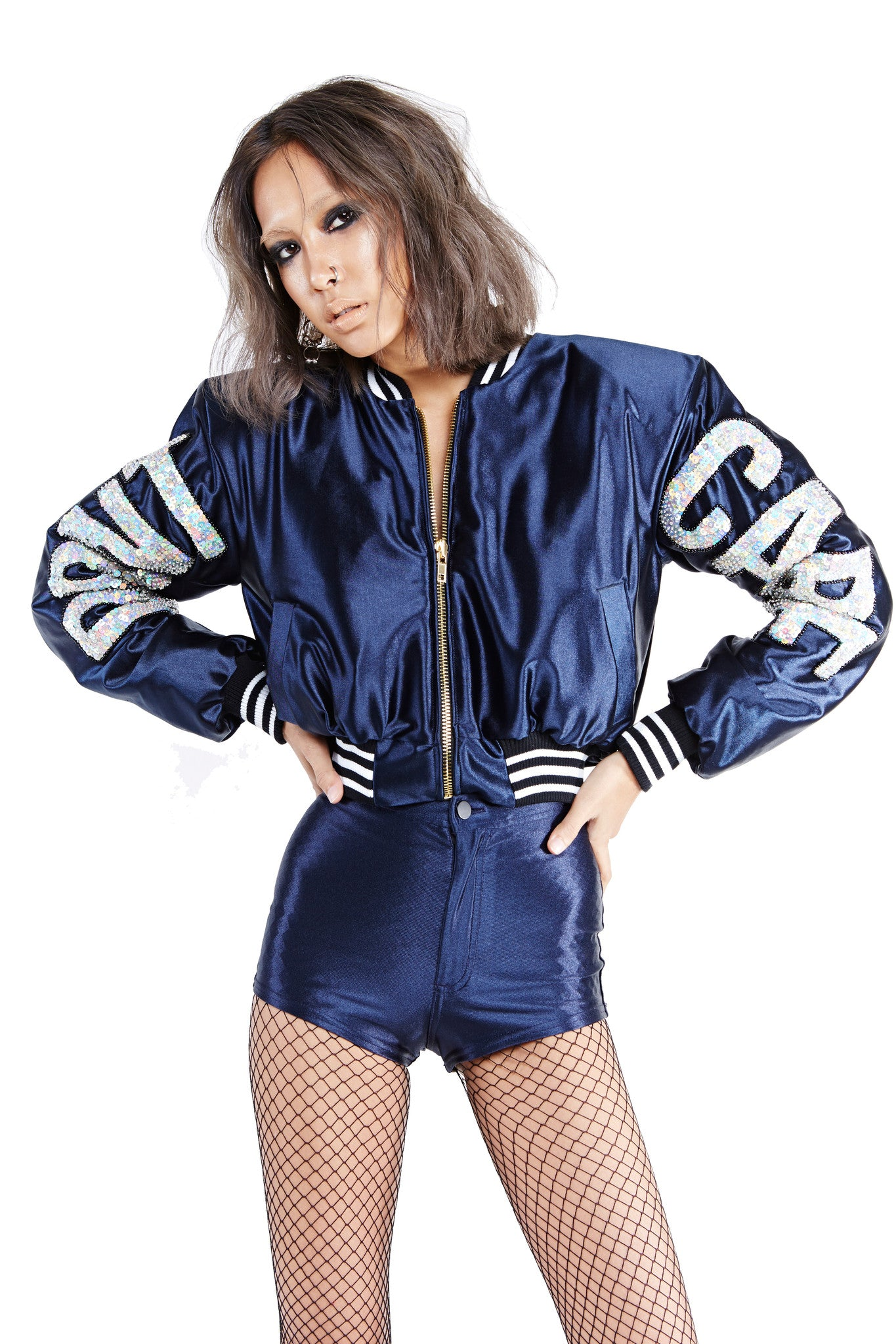DON'T CARE Bomber Jacket - Navy Blue