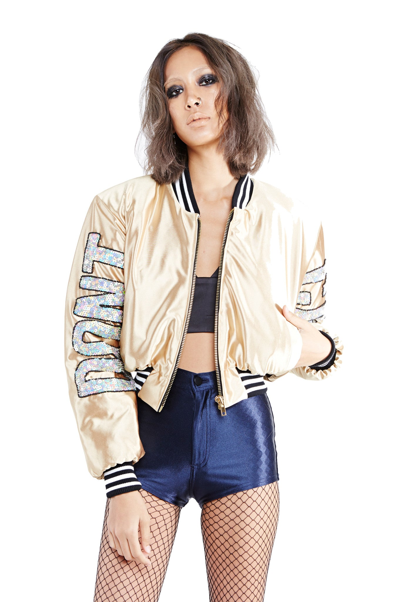 DON'T CARE Bomber Jacket - Gold