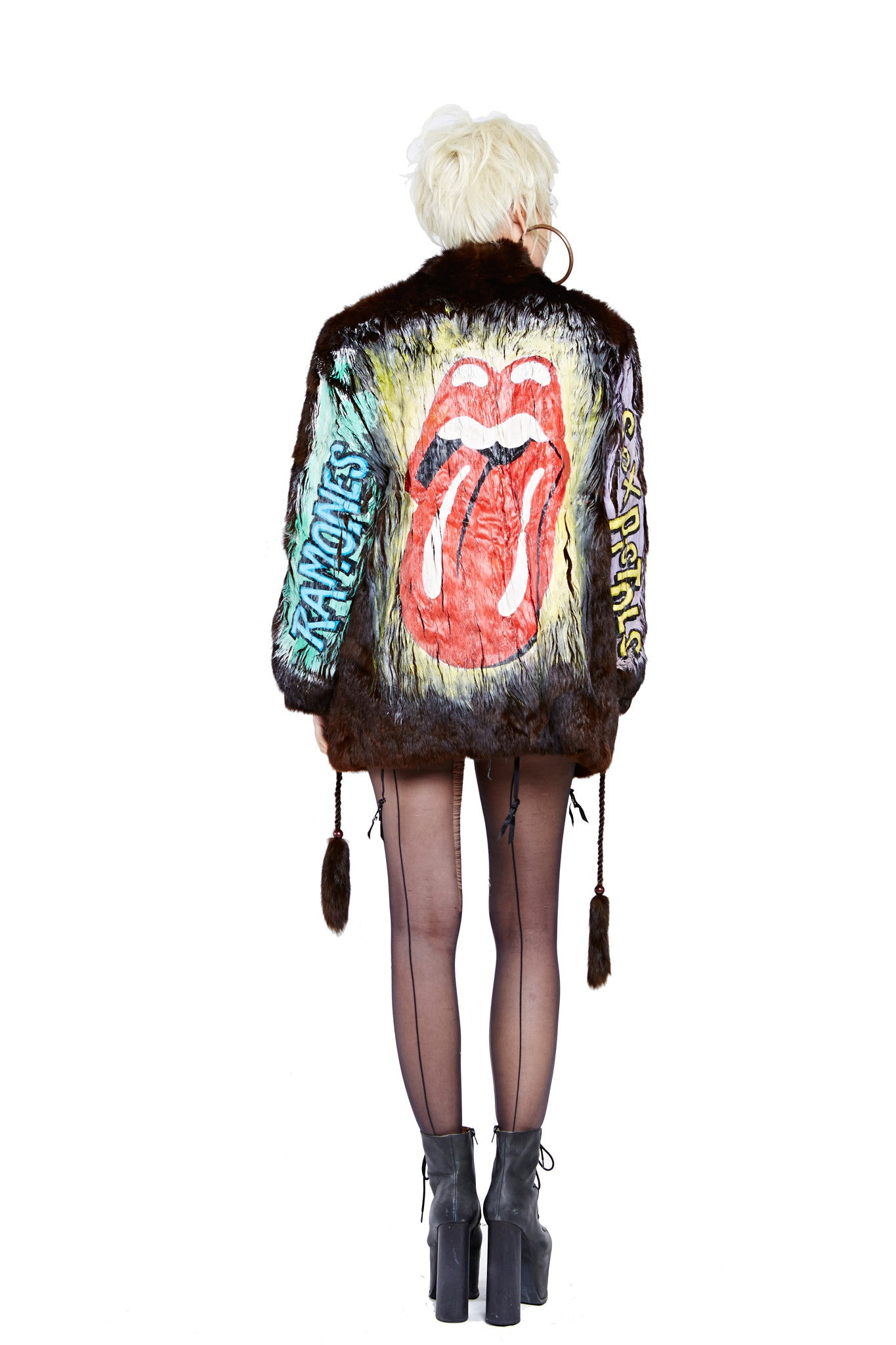 Rock n' Roll Hand Painted Fur Coat - Brown Short