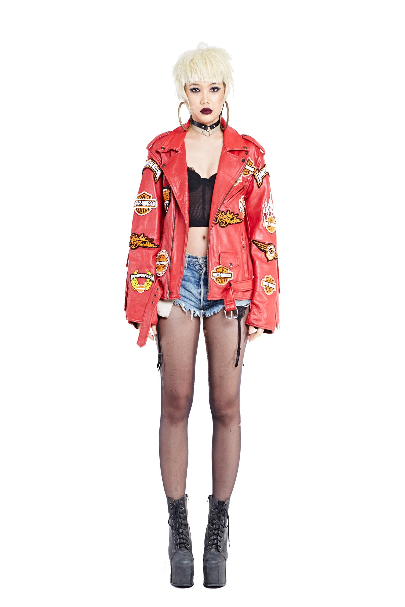 Leather Biker Jacket - Red
